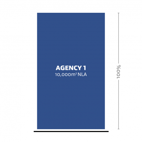 A representation of one agency (Agency 1) occupying 100% of the Net Leased Area (NLA).