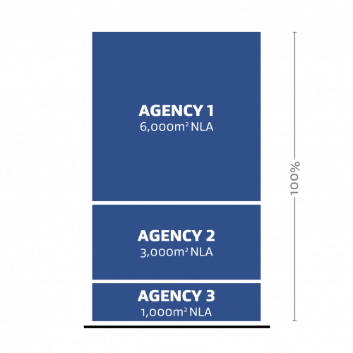 A representation of three different agency (Agency 1, Agency 2 and Agency 3) occupying 100% of the Net Leased Area (NLA).
