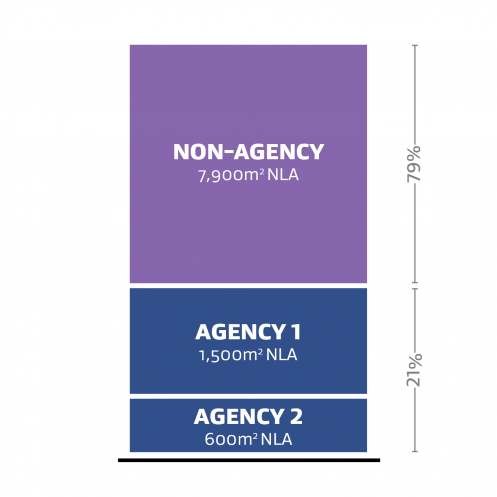 A representation of two different agency (Agency 1 and Agency 2) occupying 21% of the Net Leased Area (NLA) and a non-agency occupying 79% of the Net Leased Asset (NLA).